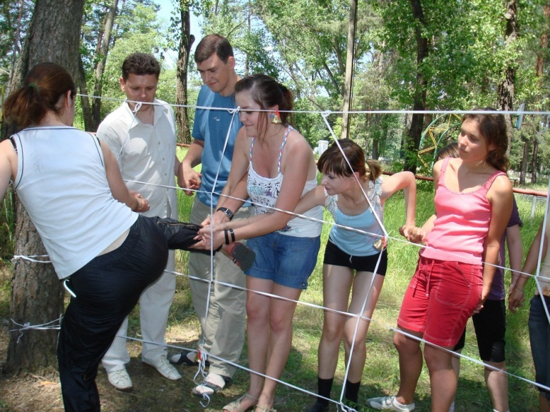 Teachers with students are taking part in training «Teambuilding» in recreation and sports camp «Girnyk»